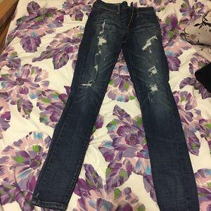 2 pairs distressed denim jeans